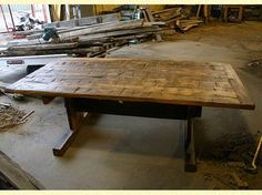 antique trestle table   Table - Hand Hewn Top Trestle Style - 42 inches x 84 inches by Antique ...