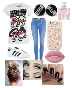 """✨✨5sos"" by isabellmurillo on Polyvore featuring Paige Denim, adidas, Lime Crime and Jimmy Choo"