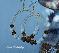 Beautiful earings with Jasper, Agate, white coral and crystals.