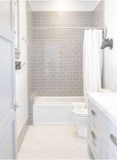 Our Bathroom Remodel  Greige Subway Tile And More…  Subway Tile Unique Tile Bathroom Designs Design Inspiration