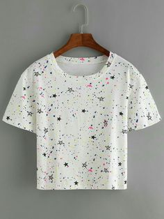 Stars Print White T-shirt Cute Comfy Outfits, Cute Girl Outfits, Classy Outfits, Pretty Outfits, Stylish Outfits, Cool Outfits, Girls Fashion Clothes, Teen Fashion Outfits, Fashion Kids