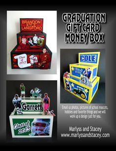 GIFT CARD BOXES,  CENTERPIECES &  SIGNS   for Graduation Parties!   2016 UPDATE:                 We can make graduation centerpieces in  ...