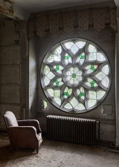 star flower window, lonely chair, radiator, alone, peace, one with MYSELF.