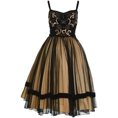 Preowned 1950s Vintage Black And Gold Embroidered Cocktail Dress (1.335 BRL) ❤ liked on Polyvore featuring dresses, 1950s, cocktail dress, vintage, black, sequin cocktail dresses, velvet cocktail dress, black and gold sequin dress, embroidered dress and vintage embroidered dress