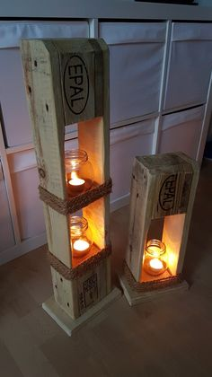 Sell a very nice set with 2 lanterns. Made from old Euro pallets - Sell a very nice set with 2 lanterns. Made from old Euro pallets, pallets - Pallet Furniture Designs, Wooden Pallet Projects, Pallet Crafts, Woodworking Projects Diy, Diy Furniture, Pallet Creations, Diy Holz, Diy Home Decor, Euro Pallets