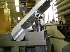 "Shop Made Tools - Tilting setup plate is 0.75"" x 6"" x 8.5"" with grid of 1/4-20 thd.  and 0.250"" reamed holes."