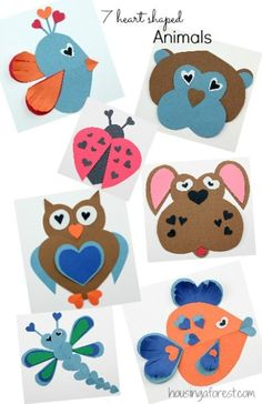 7 Heart Shaped Animal ideas ~ simple Valentines Day craft for Kids Easy Valentine Crafts, Valentines Day Activities, Valentines For Kids, Holiday Crafts, Preschool Crafts, Crafts For Kids, Arts And Crafts, Crafty Kids, Animal Crafts