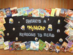 """""""There's a Minion reasons to read."""" Great display done by the media assistant at Pleasant Green Elementary. Reading Bulletin Boards, Bulletin Board Borders, Bulletin Board Display, Classroom Bulletin Boards, Minion Classroom Theme, Minion Theme, Classroom Themes, Display Boards, Display Ideas"""