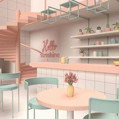 Cafe Shop Design, Coffee Shop Interior Design, Restaurant Interior Design, 3d Interior Design, Store Design, Interior Architecture, Cuisines Design, Aesthetic Rooms, Room Decor