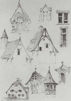 Nice and simple sketches of Bavarian buildings. - Nice and simple sketches of Bavarian buildings. Architectural sketch Beautiful and simple sketches - Autocad 3d, Drawing Sketches, Art Drawings, Drawing Ideas, Art Et Architecture, Architecture Illustrations, Architecture Portfolio, Building Sketch, Building Drawing