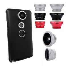 clearance Red Color Mobile Phone Lens 3-in-1 Phone Photo Lens Fisheye Lens Wide Angle Lens with Case for Samsung Galaxy Note4 //Price: $5.51//     #electonics