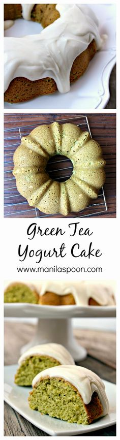 With a subtle hint of green tea, extra flavor and moisture from yogurt and a delicious frosting this cake is the perfect tea time treat. #green #tea #cake