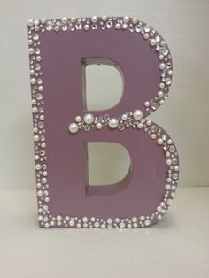"8x 5x 1 1/2 wood block ""B"" with pearl trim. Hand painted and designed at Dylan's Unique Gifts & Weddings"