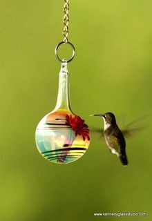 The Kennedy Style Hummingbird Feeder By Kennedy Glass Studio - contemporary - bird feeders -  - by Etsy