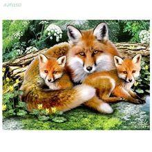 3d diamond embroidery Fox family needlework diamond mosaic pictures of…
