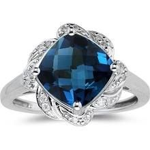 Rakuten.com .09 Cts Diamond & 3.02 Cts London Blue Topaz Ring in 14K White Gold