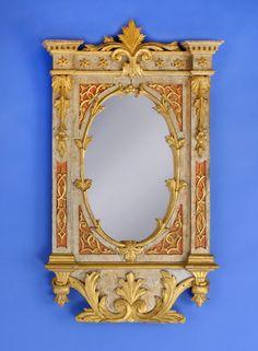 Duesseldorfer Auktionshaus  Wandspiegel 19. Jhdt. Reich geschnitzt. Vergoldet. H 90 cm, B 53 cm