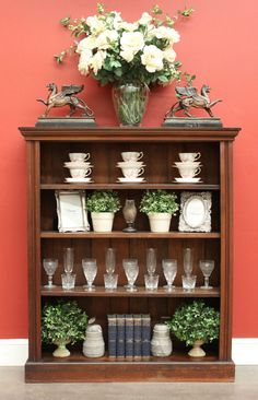 *Because* Antiques & Interiors Antique English Pine Narrow 3 Shelf Open Bookcase Hall Cabinet Display Cupboard