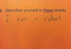 This kid, who won't follow your rules.   27 Kids Who Just Don't Give A Fuck Any More