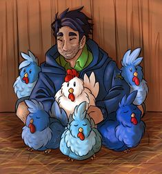 Stardew Valley art > Shane surrounded by his chicken clan Stardew Valley Fanart, Chicken Drawing, Art Blog, Game Art, Fandoms, Drawings, Videogames, Egg Scramble, Gaming
