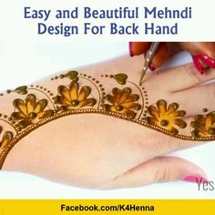 Awesome Step by Step Mehndi Designs with Videos for All Type Functions - 2019 Henna Tattoo Designs Simple, Latest Henna Designs, Mehndi Designs Book, Back Hand Mehndi Designs, Finger Henna Designs, Mehndi Designs For Girls, Mehndi Designs For Beginners, Modern Mehndi Designs, Mehndi Designs For Fingers