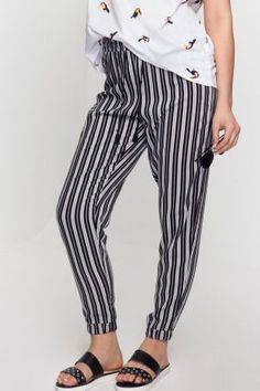 Black & White Striped Trousers