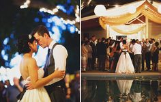 White draping...white sari material with silver work?, string lighting and paper lanterns? Outdoor first dance???