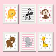 JUNGLE Pink Gray Grey Nursery Wall Art ELEPHANT Giraffe Zebra Set of 6 Prints Zoo Safari Animals Baby Girl Wall ART Jungle Decor Picture by LovelyFaceDesigns on Etsy https://www.etsy.com/listing/188989562/jungle-pink-gray-grey-nursery-wall-art