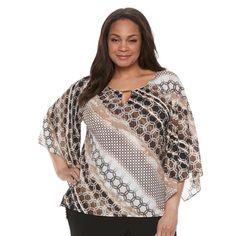 Plus Size Dana Buchman Printed Kimono Top, Women's, Size: 1XL, Med Beige