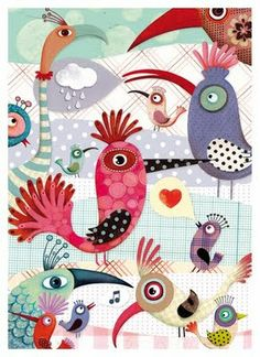 Illustration by Marie Desbons, French Art And Illustration, Illustrations And Posters, Art Fantaisiste, Art Journal Pages, Whimsical Art, Art Plastique, Bird Art, Bird Feathers, Bunt