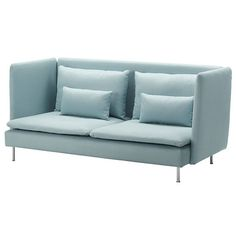 SÖDERHAMN Three-seat sofa and chaise longue - Isefall light turquoise - IKEA. Various combinations. You could put a couple of chaises together to create an extra deep sofa. Söderhamn Sofa, Sectional Sofas, Canapé Convertible Design, Banquette 2 Places, Ikea Family, Family Room, Bed Slats, Comfortable Sofa, Light Turquoise