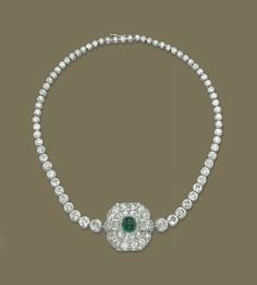 Emerald Necklace, Diamond Necklaces, Diamond Jewelry, Art Deco Necklace, Art Deco Jewelry, Royal Jewels, Crown Jewels, Rhinestone Jewelry, Vintage Rhinestone