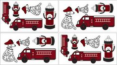 Firetruck Wall Decal Set of 4 Sheets by Sweet Jojo Designs - Traditional - Kids Decor - Tiny Totties
