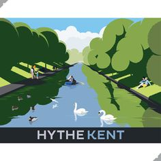 Hythe Military Canal, Kent – Andy Tuohy Design John Hendrix, Vintage Travel Posters, Poster Vintage, Railway Posters, Commercial Art, Coastal Art, Festival Posters, British Isles, Travel Style