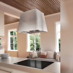 Hotte Design, Ceiling Lights, Aide, Distance, Home Decor, Products, Exotic Food, White Kitchen Sink, Exhaust Hood