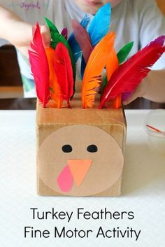 Turkey fine motor activity for toddlers and preschoolers that teaches color recognition, counting and patterning! Thanksgiving kids arts and crafts - kids activities Kids Crafts, Thanksgiving Crafts For Toddlers, Thanksgiving Activities, Autumn Activities, Baby Crafts, Toddler Crafts, Thanksgiving Turkey, Thanksgiving Decorations, Thanksgiving Desserts