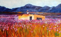 Overberg  scene with ruin.  Acrylic on canvas. 120 x 75cm.  SOLD.