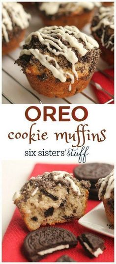 Oreo Cookie Muffins recipe from sixsistersstuff A fun and easy treat to make for kids and adults too Muffins Blueberry, Zucchini Muffins, Pistachio Muffins, Cupcakes, Cupcake Cakes, Bundt Cakes, No Bake Desserts, Delicious Desserts, Dessert Recipes