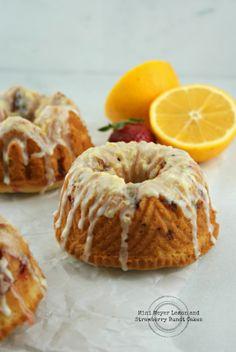 Mini Meyer Lemon and Strawberry Bundt Cakes | Secret Recipe Club