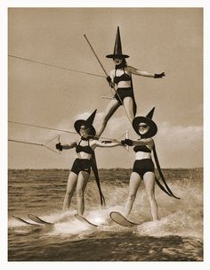 Cypress Garden's water skiing troupe as witches. 1955