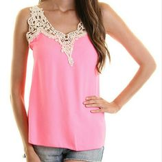 LAST! Pink Lace Trimmed Tank A beautiful tank addition to your closet! A standout piece thay can be paired with anything!  Size small available only.  Fits a little big, loose fitting and flowy. Twang Boutique  Tops Tank Tops