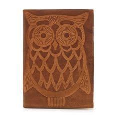 Embossed Italian Leather Journal: Owl