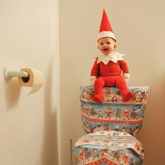 A COLLECTION of PHOTOS The elf has been a huge help wrapping gifts this week, but I was not as grateful when I stumbled to the bathroom in the middle of the night and found this present.  #rocktheelf #elfontheshelf