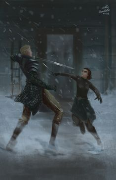 Ayra and brienne Winter Is Here, Winter Is Coming, Familia Stark, American Horror Story Movie, Daenerys Targaryen, Game Of Thrones Books, Brienne Of Tarth, The North Remembers, Vikings