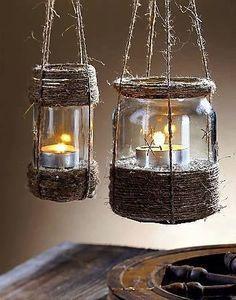 glass jar, twine, gravel and a tealight