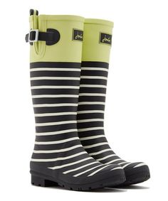 Lime & Black Stripe Rain Boot - Women #zulily #zulilyfinds