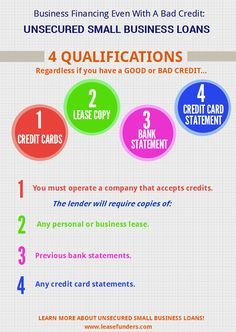 Unsecured small business loans work as a type of advance on any upcoming sales made by credit cards.