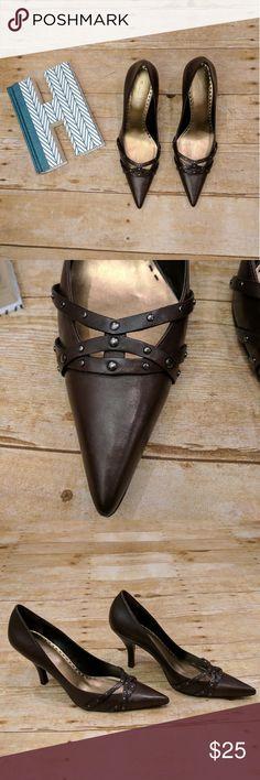 Gianni Bini Criss Cross Studded Heels Gianni Bini Criss Cross Studded Heels * EUC * Brown Genuine Leather * Size 8 1/2  * 3 1/2 in heel * Perfect for the office Gianni Bini Shoes Heels
