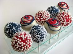 fourth of july cake pops Blue Cake Pops, Blue Cakes, 4th Of July Cake, Happy Fourth Of July, July 4th, Chocolates, Cake Bites, Vanilla Cake, Eat Cake