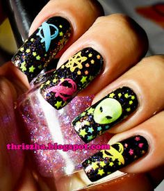 freehand neon alien nails nail art polish paint stamp